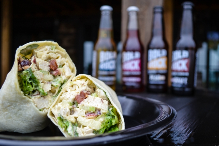 <h5>Chicken Salad Wrap</h5><p>Chicken salad wrap with signature chicken, southern mayo, dried cherries, romaine lettuce, celery, and apples</p>