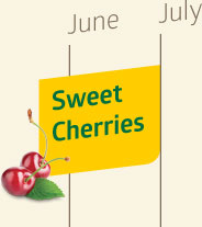 Sweet cherries are available from late-May until July.
