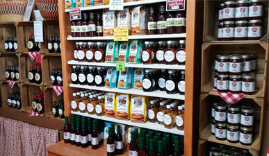 Pancake mix, syrup, jams, and jellies at the Carter Mountain Orchard Country Store
