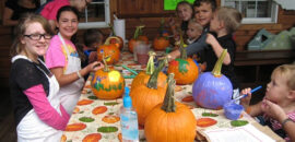 Painting pumpkins at Carter Mountain Orchard