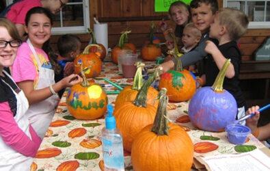 Painting pumpkins at Carter Mountain Orchard