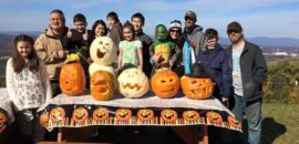 Pumpkin carving at Carter Mountain Orchard on Halloween