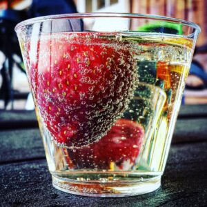 Strawberries in Bold Rock Hard Cider at Chiles Peach Orchard
