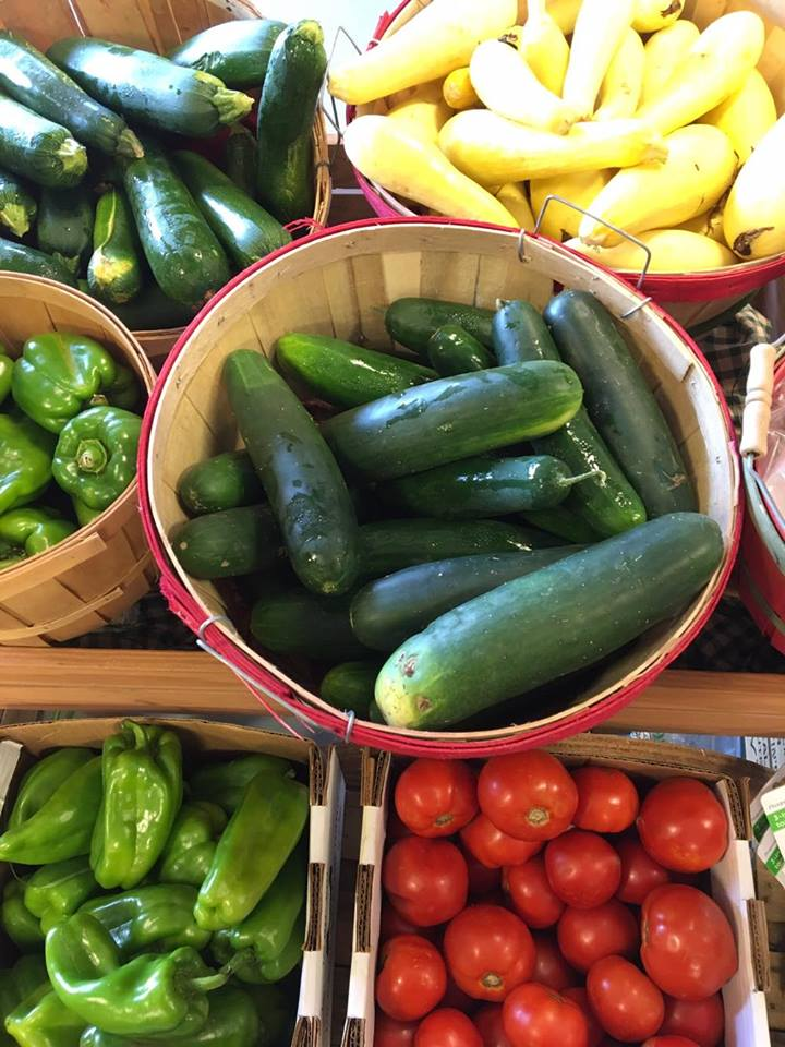fresh cucumbers and vegetables