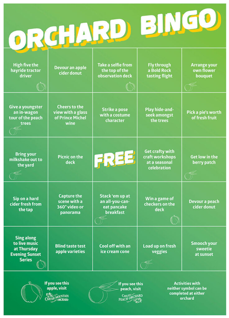 Bingo card for Chiles Family Orchards