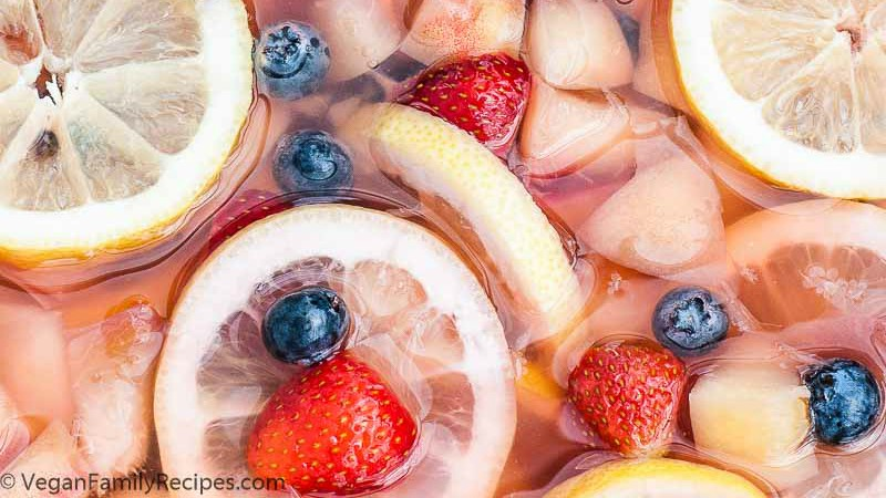 white peach sangria from vegan family recipes blog