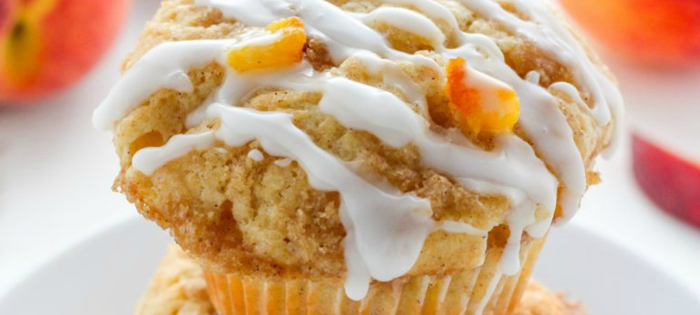 peaches and cream muffins from baker by nature