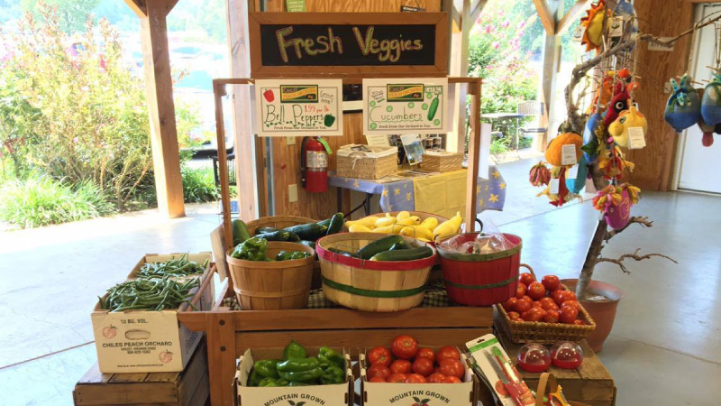 display of fresh vegetables at Chiles Peach Orchard