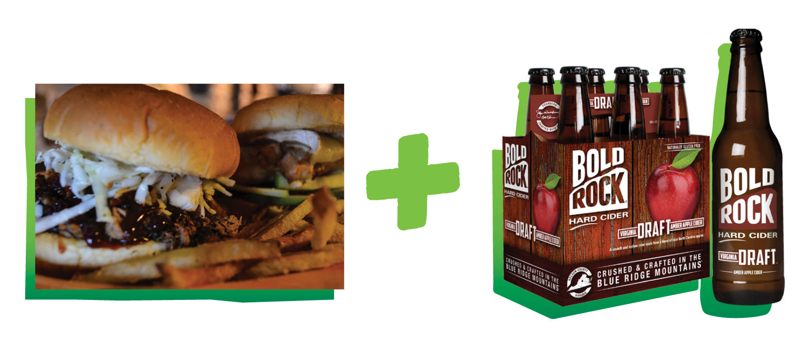 Barbecue burger paired with Virginia Draft Bold Rock