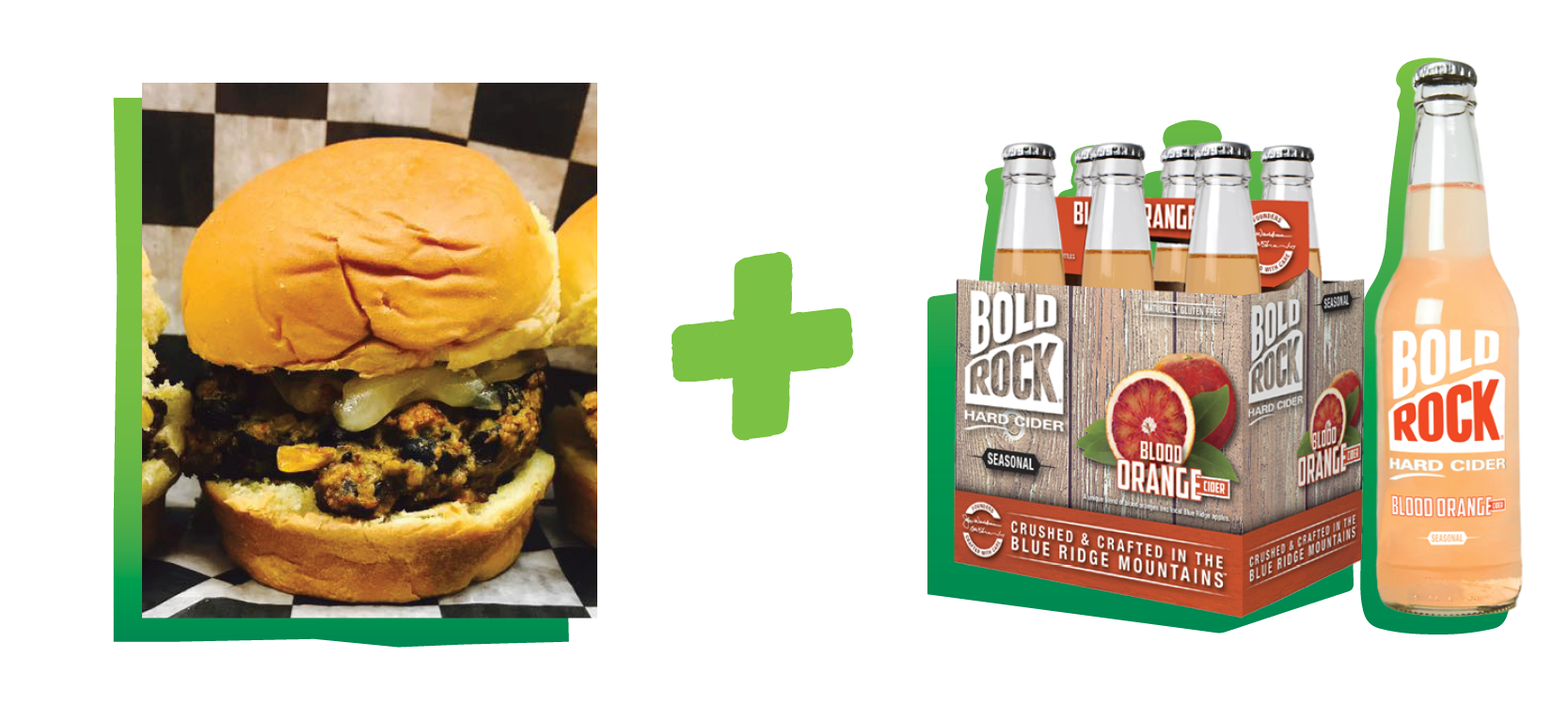 black bean burger paired with blood orange bold rock