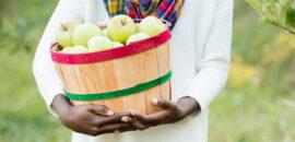 Girl with apple basket