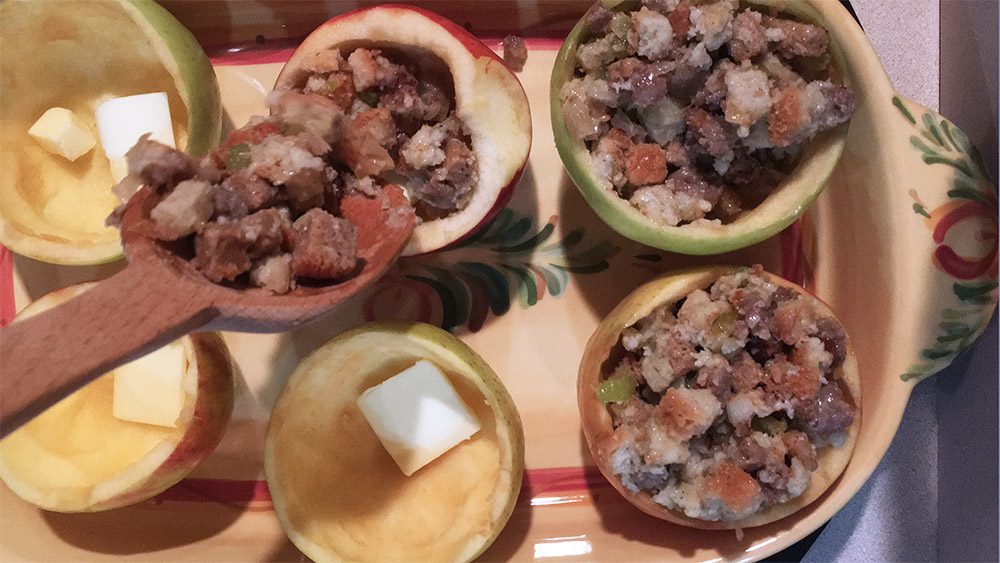 Put sausage stuffing in apples such as Granny Smith, Golden Delicious and Red Delicious