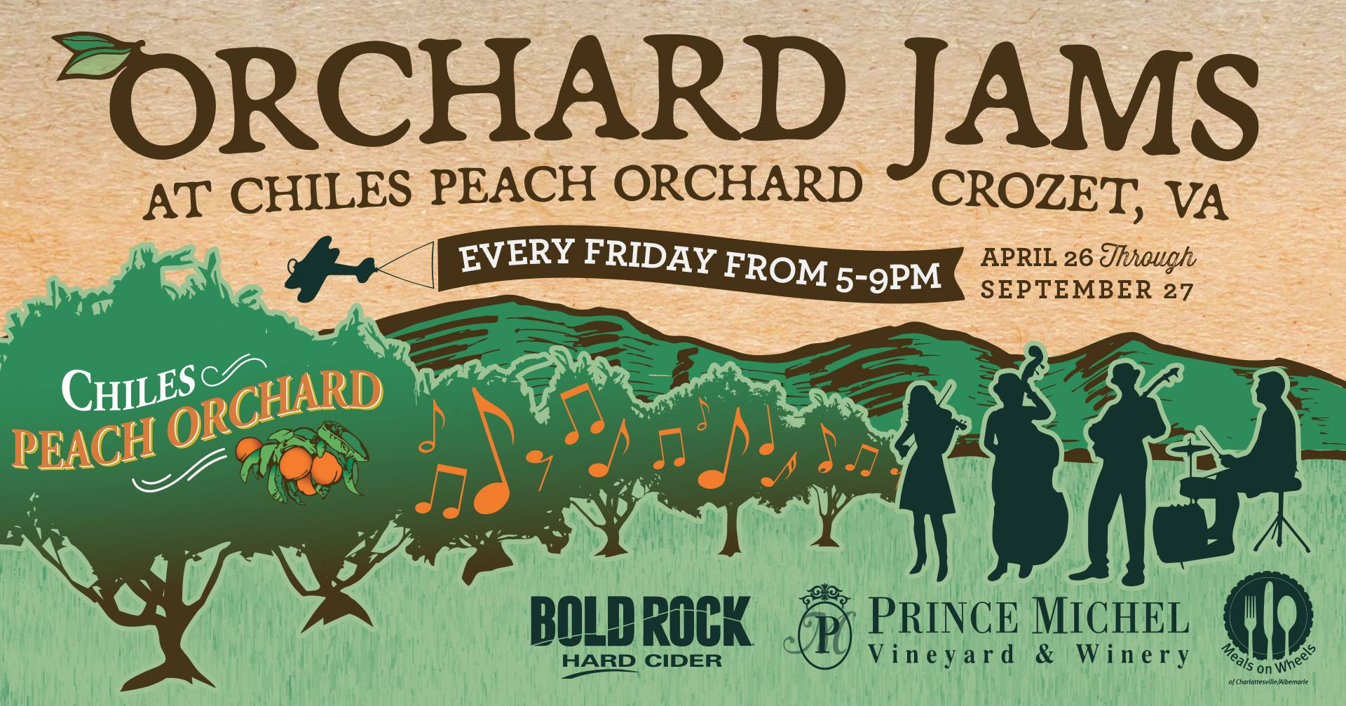 Orchard Jams, free music at Chiles Peach Orchard