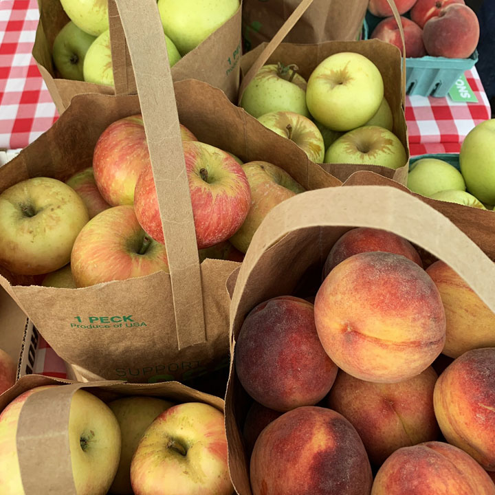 Recyclable apple peck bags from Carter Mountain Orchard at Charlottesville City Market