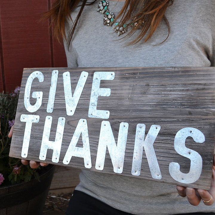 GIVE THANKS wooden and metal sign from Orchard gift shop