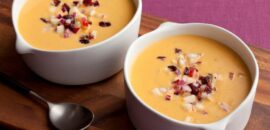 Pumpkin Soup with Chili Cran-Apple Relish recipe from Food Network