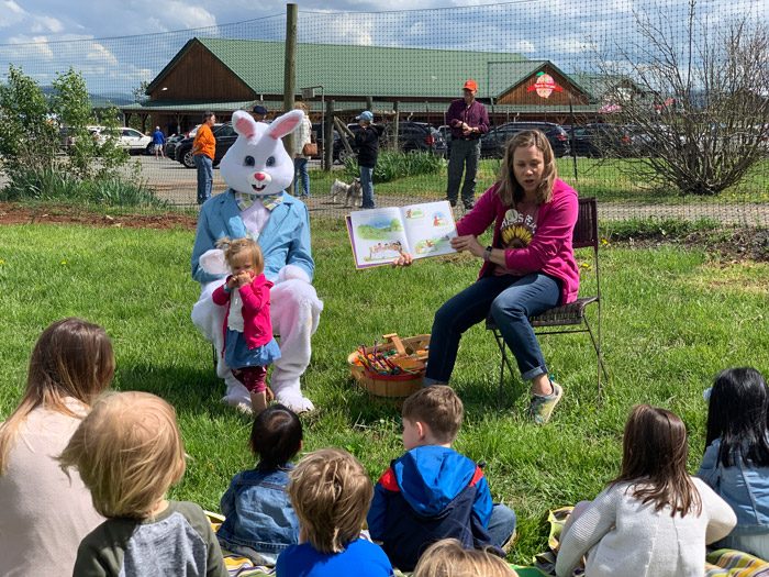 Story time during the Hop Into Spring event at Chiles Peach Orchard