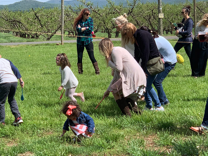 Easter Egg Roll during the Hop Into Spring event at Chiles Peach Orchard