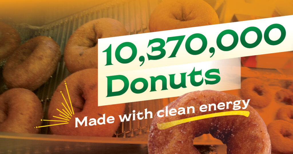 Chiles Family Orchards can produce 10,370,000 donuts with clean energy.