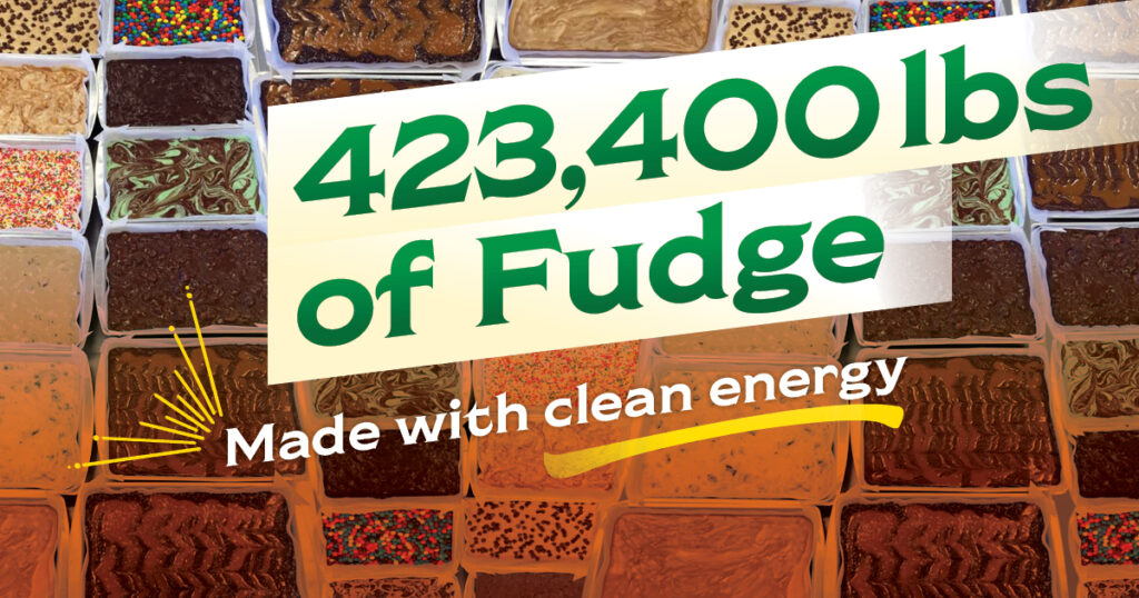 Chiles Family Orchards can produce 423.400 lbs of fudge with clean energy.