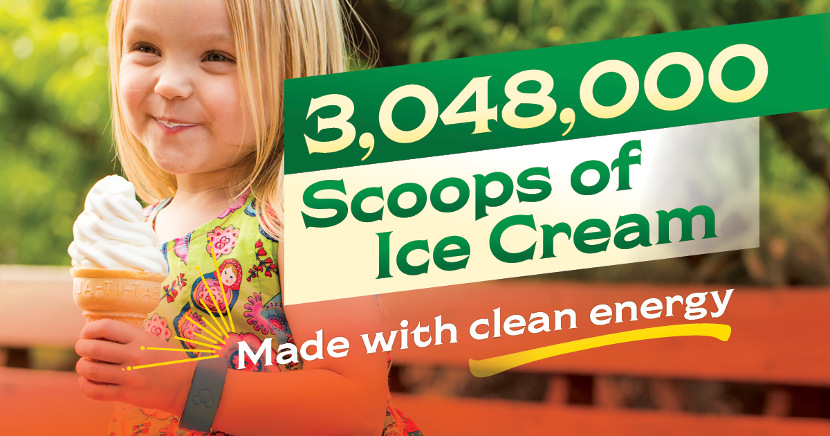 Chiles Family Orchards can produce 3,048,000 scoops of ice cream with clean energy.