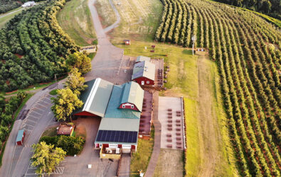 Aerial view of Carter Mountain Orchard