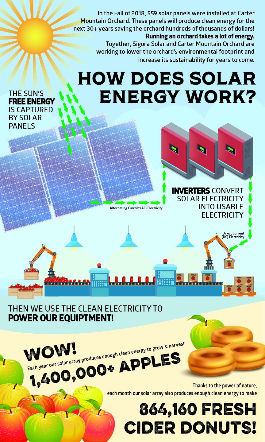 Graphic demonstrating how Chiles Family Orchards captures solar energy for green power.