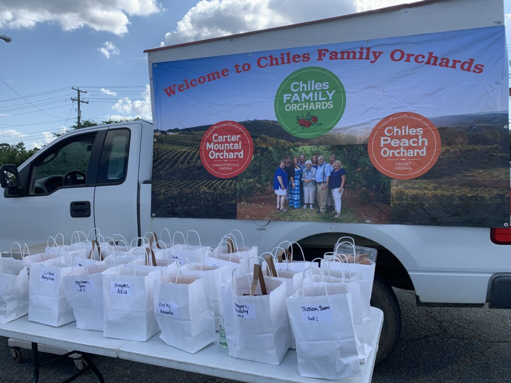 Orchard orders at Local Food Hub's drive-through farmer's market