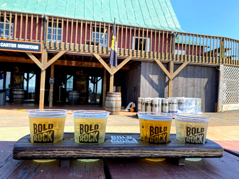 Bold Rock hard cider flight at seasonal tap room on Carter Mountain