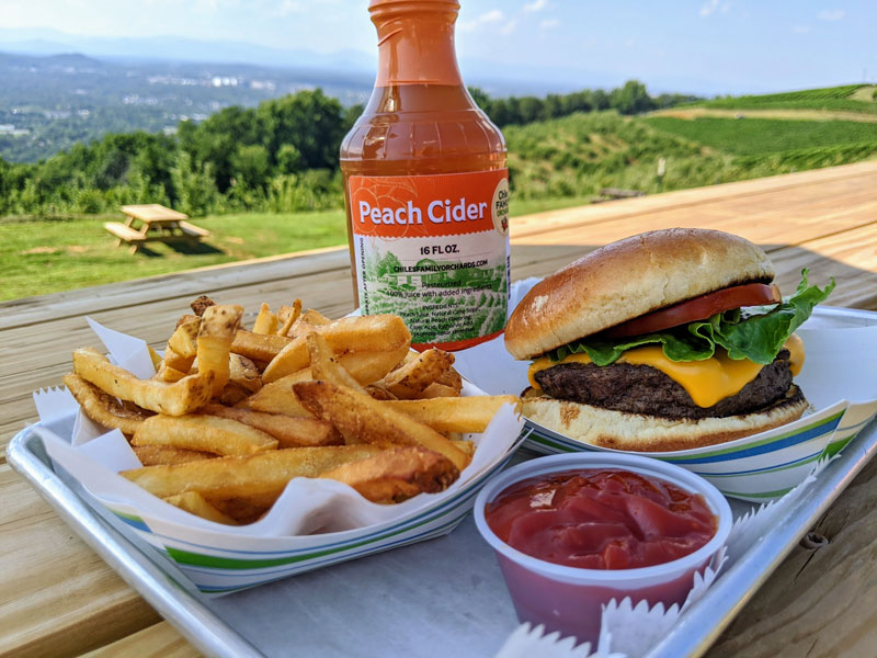 Burger, fries, and peach cider at Carter Mountain Grill