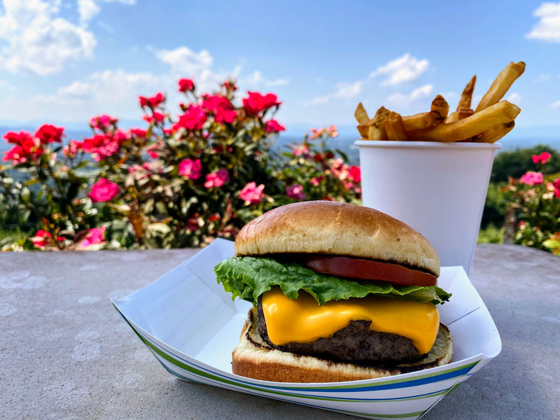 Cheeseburger & fries at Carter Mountain Grill
