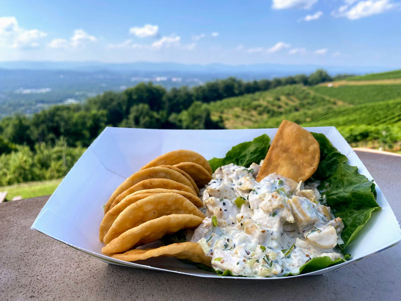 Chicken salad with pita chips at Carter Mountain Grill