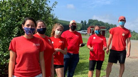 Carter Mountain Orchard staff wearing face masks