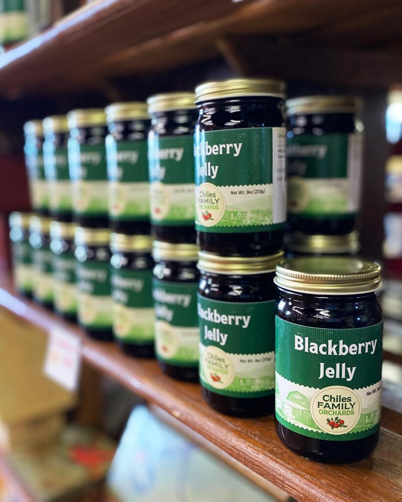Shelf of blackberry jelly from Carter Mountain Orchard