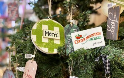 Carter Mountain Orchard gift card on a Christmas tree