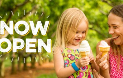 Chiles Peach Orchard now open; mom and daughter enjoy soft-serve ice cream