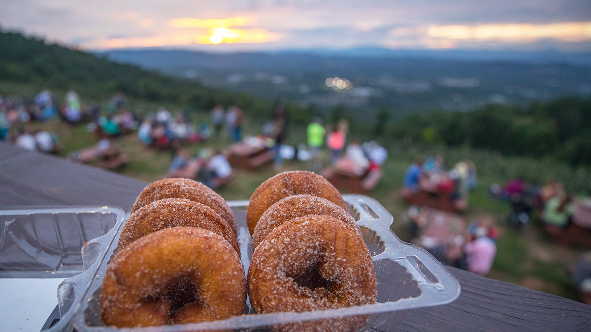 Donuts at Carter Mountain Orchard's Thursday Evening Sunset Series