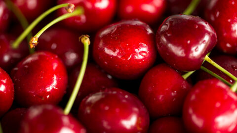 Close up image of cherries and stems