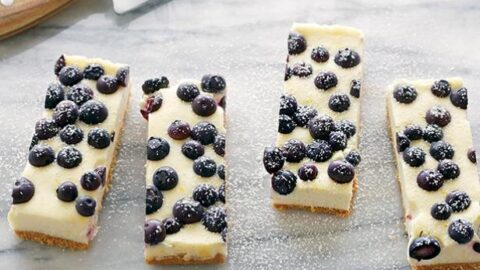 Lemon Blueberry Cheesecake Bars recipe from Food Network