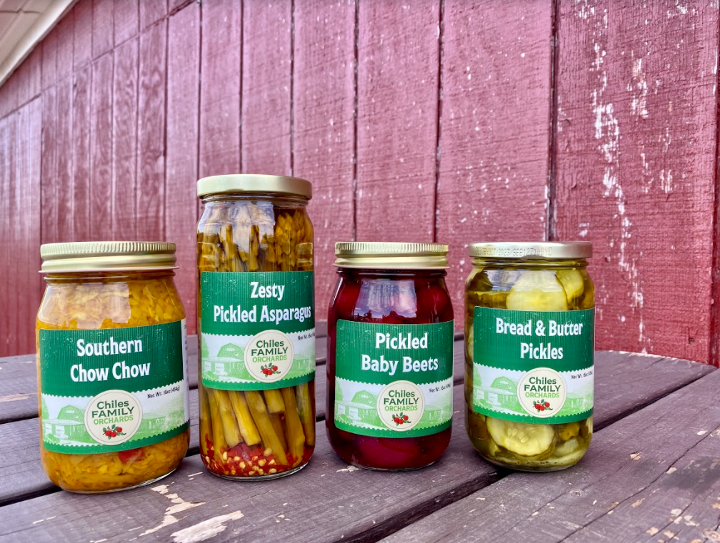 Pickled chow chow, asparagus, beets, and bread and butter pickles