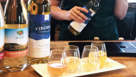 Wine flight at Chiles Peach Orchard Wine Shop