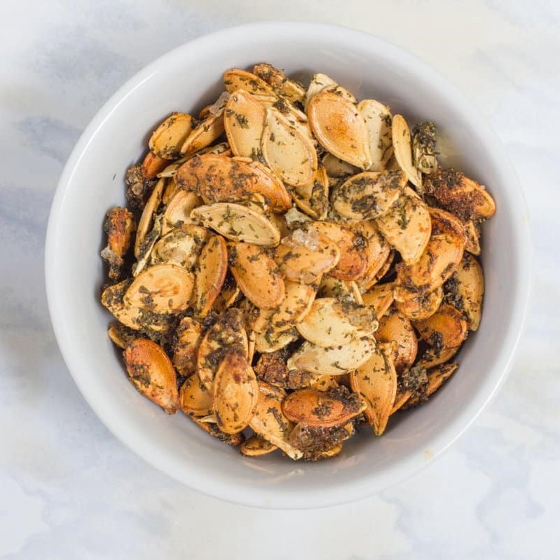 Dill pickle roasted pumpkin seeds